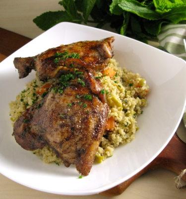 Mediterranean Chicken Confit with Couscous