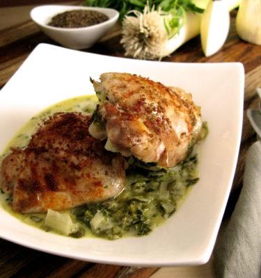Tarragon Chicken Thighs with Braised Garlic Greens