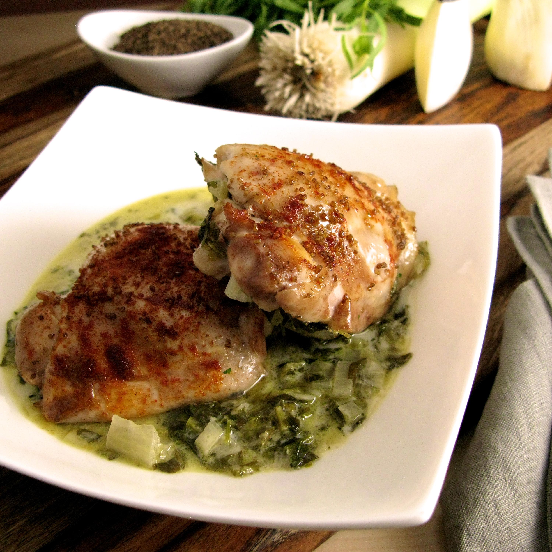 Tarragon Chicken Thighs with Braised Spring Green Medley