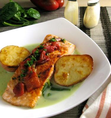 Fresh Salmon with Watercress Sauce