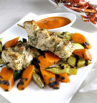 Herb-Marinated Chicken Skewers w Roasted Vegetables & Harissa