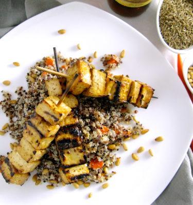 Grilled Tofu Brochettes w Organic Quinoa, Pine Nuts & Carrots