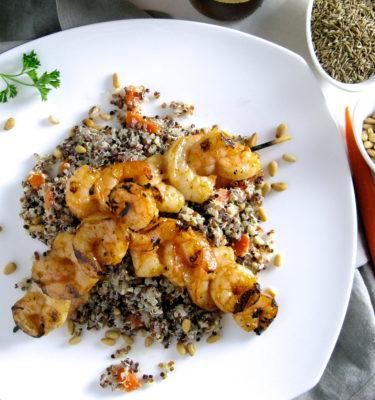 Grilled Shrimp Brochettes w Organic Quinoa, Pine Nuts & Carrots