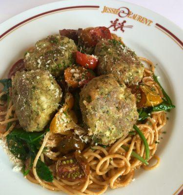 Spaghetti and Chicken Meatballs with Pesto a la Siciliana