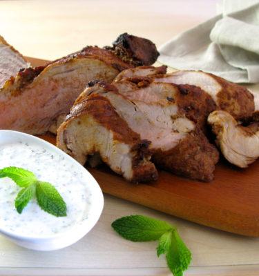 Roasted Pork Loin with Mint Yogurt Sauce