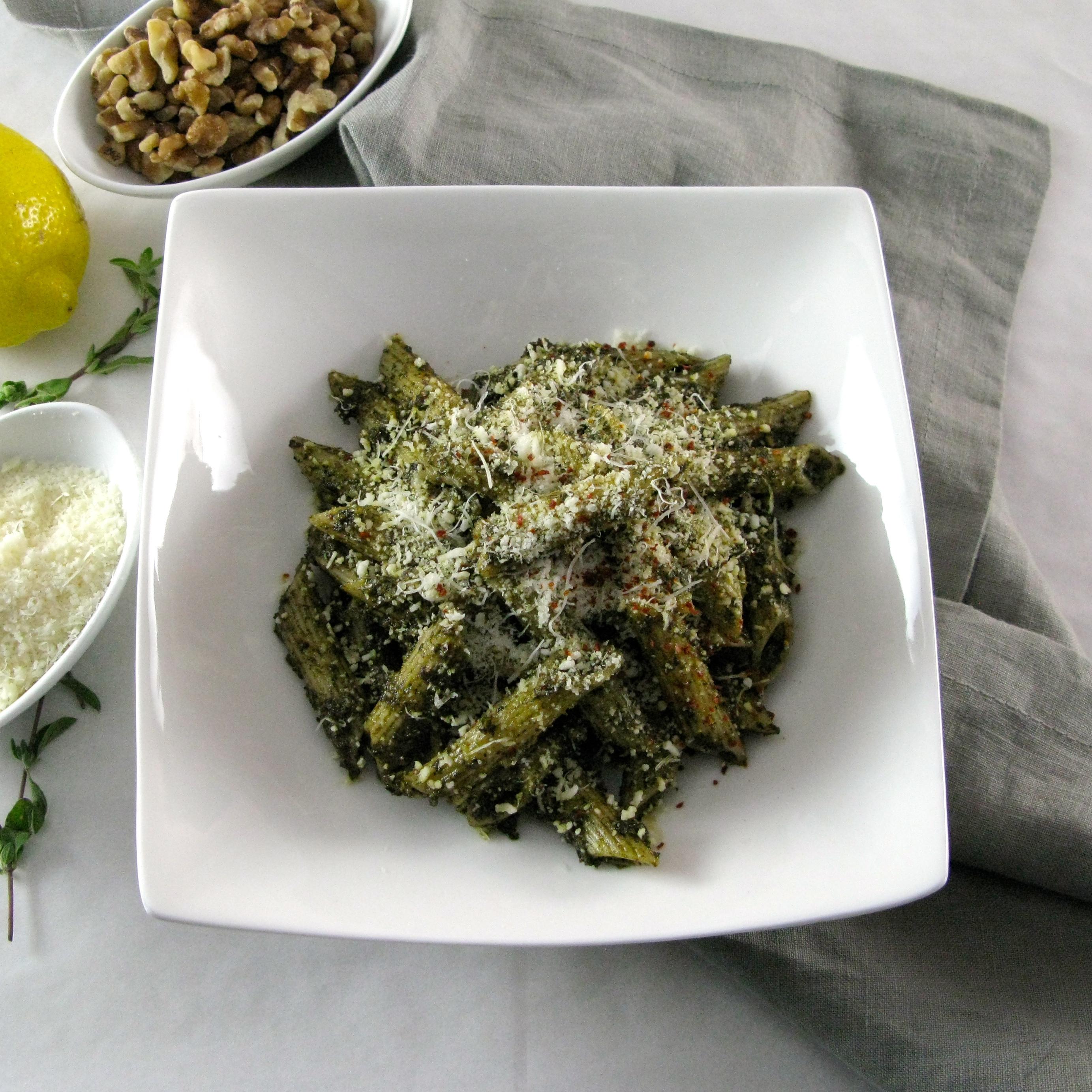 Penne with Lemony Kale and Pecorino Walnut Pesto