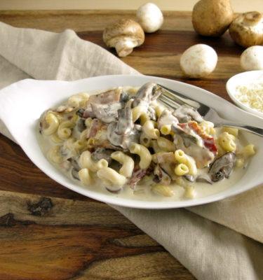 Roasted Mushroom, Bacon & Gorgonzola Mac & Cheese