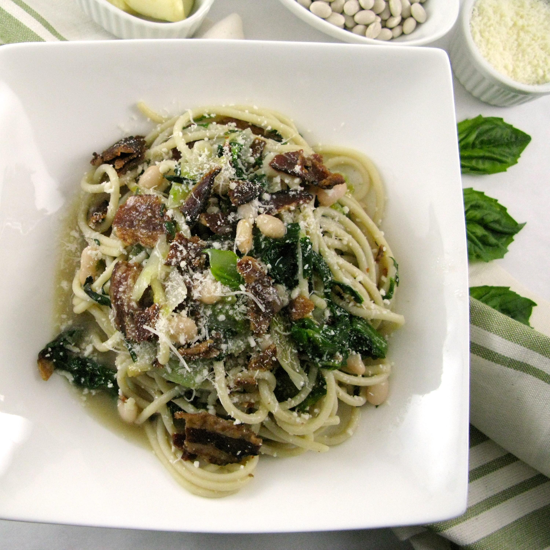Spaghetti with Escarole and Bacon