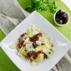 Fresh Ricotta Ravioli with Tomato, Arugula & Olive Sauce