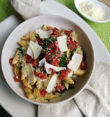 Spinach and Parmesan Pasta Au Gratin