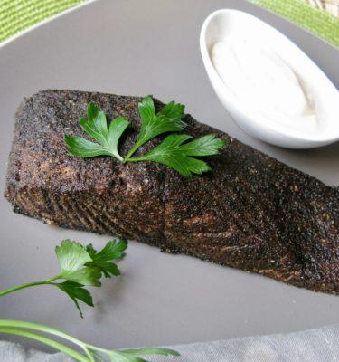 Spiced Rubbed Salmon with Lemon Tarragon Crème Fraiche