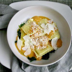 Three Cheese Ravioli with Sweet Potato Sauce and Spinach