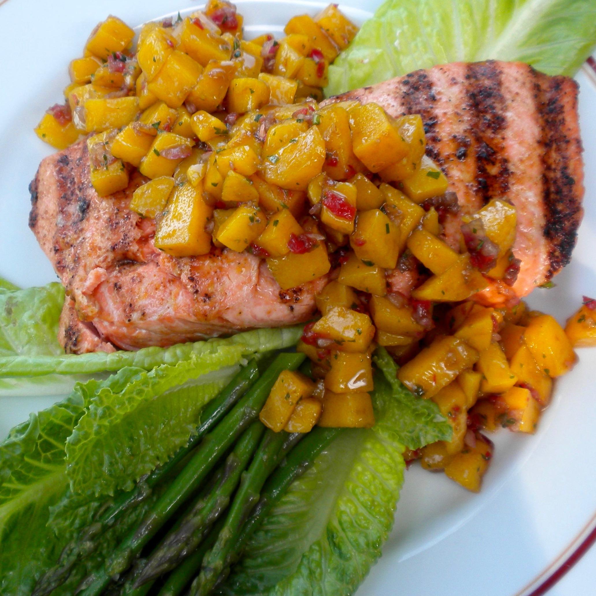 Grilled Salmon & Asparagus with Mango Salsa