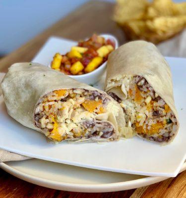 Vegetarian Burrito with Mango Tomato Salsa