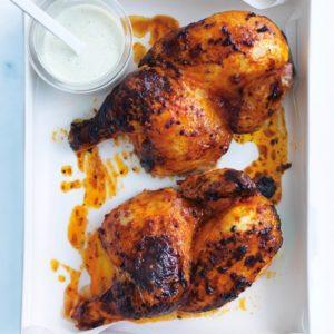 Whole Roasted Harissa Chicken w Lemon Yogurt Sauce