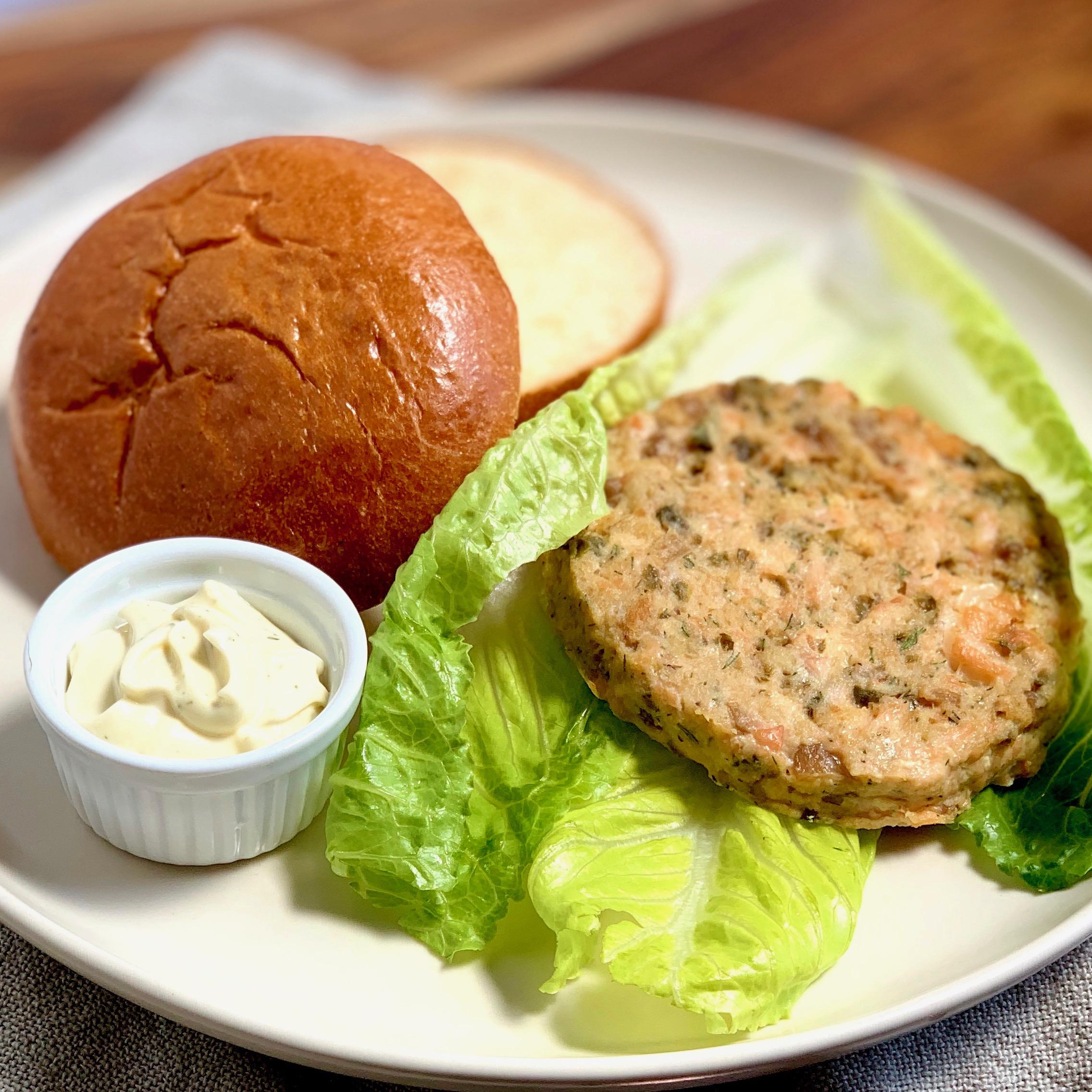 Lemon Caper Salmon Burgers