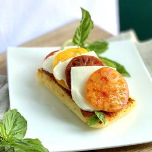 Polenta with Heirloom Tomatoes, Basil & Mozzarella