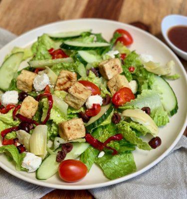Greek Salad with Organic Tofu & Olive Vinaigrette