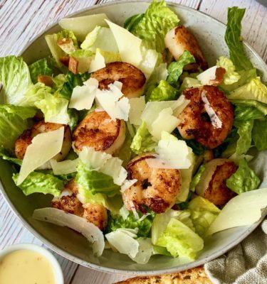 Caesar Salad with Roasted Prawns