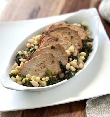 Pork Tenderloin over Braised Kale, Corn & White Bean Succotash