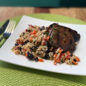 Grilled Portobello Mushrooms over Black Beans & Rice