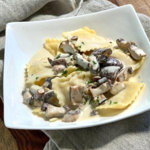 Truffle and Ricotta Ravioli with Creamy Truffle Sauce