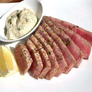 Seared Ahi Tuna Filets with Fresh Herb Garlic Aioli