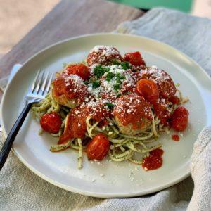 Spaghetti and Chicken Meatballs with Pesto