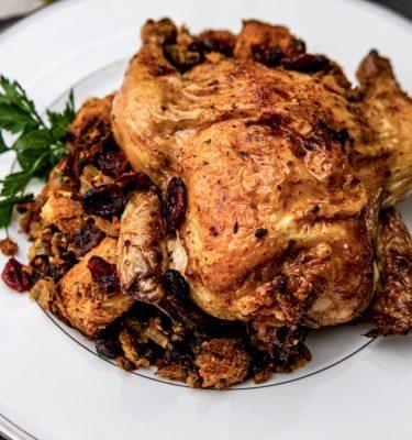 Glazed Cornish Hens with Cranberry Stuffing