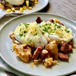 Brunch! Poached Eggs with Pastrami Reuben Hash