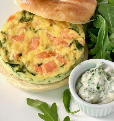 Brunch! Smoked Salmon Dill Creme Fraiche Egg Sandwich