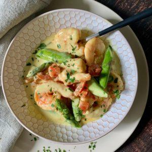 Prawns & Asparagus with Madras Sauce