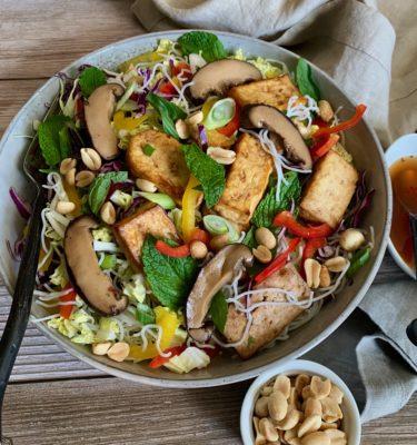 Bangkok Noodle Salad with Shiitake & Tofu