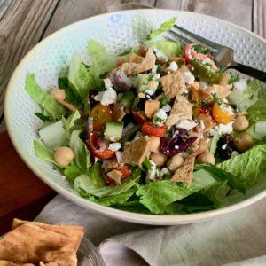 Greek Chick Pea & Tofu Salad with Feta Cheese