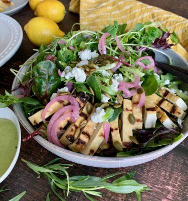Green Goddess Chopped Salad Bowl with Marinated Tofu