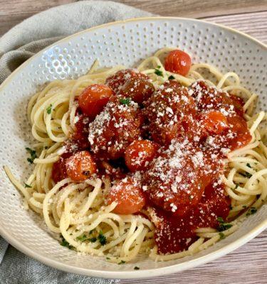Spaghetti & Turkey Meatballs with Marinara Sauce