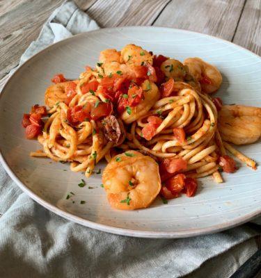 Argentinian Red Prawns Linguini with Tomato Arugula Olive Sauce