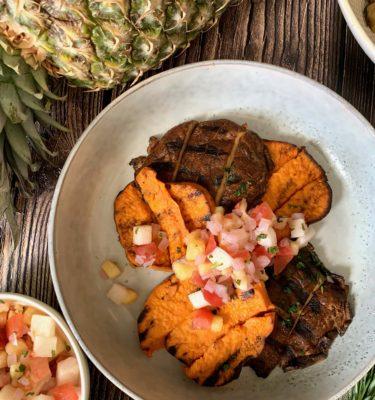 Grilled Yam and Portobello with Pineapple Jicama Salsa