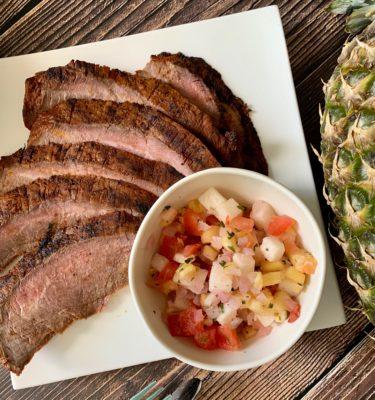 Grilled Asada Flank Steak with Pineapple Jicama Salsa