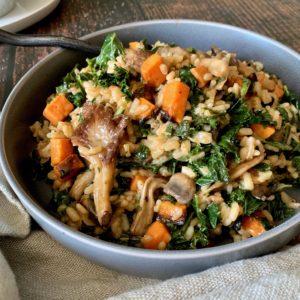Roasted Wild Mushroom, Sweet Potatoes & Kale Risotto