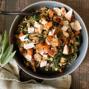 Wild Mushroom, Sweet Potato & Kale Risotto w Roasted Chicken
